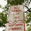 No Parking Signs on Lahoma Avenue carry an exception in Norman, Oklahoma on Friday, August 8, 2008. BY STEVE SISNEY, THE OKLAHOMAN