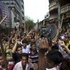 Protestors march down the street, demanding the death penalty for those responsible for the April 24 collapse of a garment factory building that killed hundreds in Savar, near, Dhaka, Bangladesh, Tuesday, April 30, 2013. A top Bangladesh court on Tuesday ordered the government to