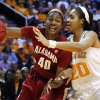 Alabama\'s Kaneisha Horn (40) drives against Tennessee\'s Isabelle Harrison (20) in the first half of an NCAA college basketball game on Sunday, Jan. 20, 2013, in Knoxville, Tenn. Tennessee won 96-69. (AP Photo/Wade Payne)