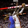 Miami\'s LeBron James (6) goes past Oklahoma City\'s Kendrick Perkins (5) during Game 3 of the NBA Finals between the Oklahoma City Thunder and the Miami Heat at American Airlines Arena, Sunday, June 17, 2012. Photo by Bryan Terry, The Oklahoman