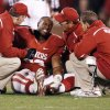 OU\'s Gerald McCoy is injured during the first half of the college football game between the University of Oklahoma Sooners and Texas Tech University at the Gaylord Family -- Oklahoma Memorial Stadium on Saturday, Nov. 22, 2008, in Norman, Okla. BY STEVE SISNEY, THE OKLAHOMAN