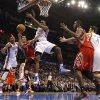 Oklahoma City \'s Serge Ibaka (9) and Russell Westbrook (0) defend on Houston\'s Jeremy Lin (7) during the NBA basketball game between the Houston Rockets and the Oklahoma City Thunder at the Chesapeake Energy Arena on Wednesday, Nov. 28, 2012, in Oklahoma City, Okla. Photo by Chris Landsberger, The Oklahoman