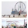 FILE - In this combination of two file photos, the Funtime Pier in Seaside Heights, N.J. is shown before and after Superstorm Sandy made landfall on the Jersey Shore. At top in this Aug. 10, 2010 file photo, the Funtime Pier rises from the sand and surf at Seaside Heights on the New Jersey coast. Below, Funtime Pier Owner Billy Major surveys the damage on Wednesday, Oct. 31, 2012 after Sandy tore through the region and left only four rides standing. Humans have an affinity for water. But in these recent jumbled days, the collapsed houses, flooded subway tunnels and washed-out roads left in Sandy\'s wake remind us once again: Our deep-seated human desire to be near the water _ to be attracted and comforted by it, to build alongside it and crave its attractions _ has an undeniable dark side. Top (AP Photo/Mel Evans) Bottom (AP Photo/Star-Ledger, David Gard, Pool)