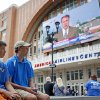Thunder fans Ryan Pearson and his father Keith Pearson of Austin , Texas, wait outside the American Airlines Center before game 2 of the Western Conference Finals in the NBA basketball playoffs between the Dallas Mavericks and the Oklahoma City Thunder at American Airlines Center in Dallas, Thursday, May 19, 2011. Photo by Bryan Terry, The Oklahoman