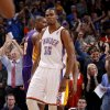 Oklahoma City\'s Kevin Durant (35) reacts during an NBA basketball game between the Oklahoma City Thunder and the Los Angeles Lakers at Chesapeake Energy Arena in Oklahoma City, Thursday, Feb. 23, 2012. Oklahoma City won 100-85. Photo by Bryan Terry, The Oklahoman