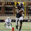 Oklahoma State\'s Justin Blackmon (81) scores a touchdown in the first quarter during a college football game between the Oklahoma State University Cowboys (OSU) and the Kansas State University Wildcats (KSU) at Boone Pickens Stadium in Stillwater, Okla., Saturday, Nov. 5, 2011. Photo by Nate Billings, The Oklahoman