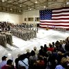 Air Guard soldiers of the 49th General Support Aviation Battalion stand at attention at the start of a ceremony as they prepare for deployment to Afghanistan in support of Operation Enduring Freedom on Thursday, April 25, 2013 in Lexington, Okla. Photo by Steve Sisney, The Oklahoman