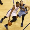 Oklahoma City\'s Kevin Durant (35) goes around Memphis\' Tayshaun Prince (21) during Game 5 in the first round of the NBA playoffs between the Oklahoma City Thunder and the Memphis Grizzlies at Chesapeake Energy Arena in Oklahoma City, Tuesday, April 29, 2014. Photo by Nate Billings, The Oklahoman