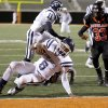 Darwin Rideau of Star Spencer scores a touchdown in front Erik King of Douglass during the Class 4A high school football state championship game betweeen Star Spencer Douglass at Boone Pickens Stadium in Stillwater, Okla., Saturday, December 5, 2009. Photo by Bryan Terry, The Oklahoman