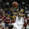 Danielle Robinson scores on a fast break in the second half as the University of Oklahoma (OU) plays Georgia Tech in round two of the 2009 NCAA Division I Women\'s Basketball Tournament at Carver-Hawkeye Arena at the University of Iowa in Iowa City, IA on Tuesday, March 24, 2009. PHOTO BY STEVE SISNEY, THE OKLAHOMA