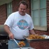 Marty Fry works the fryers at the Harrah United Methodist Church\'s first annual F3 Fry\'s Fish Fry on May 7. On the menu were catfish, french fries, fried sweet potatoes, two kinds of coleslaw, hush pupppies and chicken bites. Dessert was homemade apple pies baked by members. Proceeds from the supper will go towards a new sign and parking lot for the church. Fry and his wife, the former Kathy Helm, plan to make the fish fry an annual event. Community Photo By: Lin Archer Submitted By: Lin,