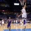 Oklahoma City\'s Russell Westbrook (0) dunks the ball during Game 2 in the second round of the NBA playoffs between the Oklahoma City Thunder and L.A. Lakers at Chesapeake Energy Arena in Oklahoma City, Wednesday, May 16, 2012. Oklahoma City won 77-75. Photo by Bryan Terry, The Oklahoman