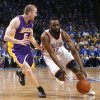 Oklahoma City\'s James Harden (13) tries to get past Los Angeles\' Steve Blake (5) during Game 1 in the second round of the NBA playoffs between the Oklahoma City Thunder and the L.A. Lakers at Chesapeake Energy Arena in Oklahoma City, Monday, May 14, 2012. Photo by Sarah Phipps, The Oklahoman
