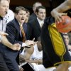 OSU head coach Travis Ford shouts during the Big 12 college basketball game between Oklahoma State University and Missouri at Gallagher-Iba Arena in Stillwater, Okla., Wednesday, Jan. 21, 2009. PHOTO BY BRYAN TERRY, THE OKLAHOMAN ORG XMIT: KOD
