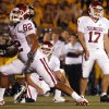 Oklahoma\'s Jimmy Stevens (17) reacts after a missed field goal during the second half of the college football game between the University of Oklahoma Sooners (OU) and the University of Missouri Tigers (MU) on Saturday, Oct. 23, 2010, in Columbia, Mo. Oklahoma lost the game 36-27. Photo by Chris Landsberger, The Oklahoman