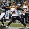 Cincinnati Bengals\' Andy Dalton (14) spikes the ball after scoring a touchdown in the second half of an NFL football game against the Philadelphia Eagles, Thursday, Dec. 13, 2012, in Philadelphia. (AP Photo/Mel Evans)