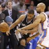 Oklahoma City\'s Derek Fisher (37) defends San Antonio\'s Gary Neal (14) during Game 6 of the Western Conference Finals between the Oklahoma City Thunder and the San Antonio Spurs in the NBA playoffs at the Chesapeake Energy Arena in Oklahoma City, Wednesday, June 6, 2012. Oklahoma City won 107-99. Photo by Bryan Terry, The Oklahoman