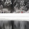People walk among snow covered trees near a partially frozen lake after a snowfall near the Belarusian capital Minsk, Sunday, Feb. 10, 2013. On Sunday the temperatures in Minsk dropped to 0 C (32 F). (AP Photo/Sergei Grits)