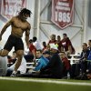 Dominique Whaley pulls up with an injury during the 40 yard sprint as the University of Oklahoma holds Pro Day at the Everest Training Center in Norman, Okla., on Wednesday, March 12, 2014. Photo by Steve Sisney, The Oklahoman