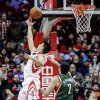 Houston Rockets guard Jeremy Lin (7) drives to the basket against Milwaukee Bucks forward Ersan Ilyasova (7) during the first half of an NBA basketball game, Wednesday, Feb. 27, 2013 in Houston. (AP Photo/Bob Levey)