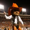 Pistol Pete fires up the crowd during the college football game between Oklahoma State University (OSU) and Texas Tech University at Boone Pickens Stadium in Stillwater, Okla. Saturday, Nov. 14, 2009. Photo by Doug Hoke, The Oklahoman