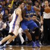 Oklahoma City\'s Nick Collison (4) defends against Orlando\'s Glen Davis (11) during the NBA basketball game between the Oklahoma City Thunder and the Orlando Magic at the Chesapeake Energy Arena, Sunday, Dec. 15, 2013. Photo by Sarah Phipps, The Oklahoman