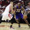 Los Angeles Lakers\' Kobe Bryant (24) pushes against Houston Rockets\' Jeremy Lin, left, in the first half of an NBA basketball game, Tuesday, Dec. 4, 2012, in Houston. (AP Photo/Pat Sullivan)
