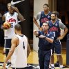 Photo -   United States men's Olympic basketball team head coach Mike Krzyzewski, right, works with center Tyson Chandler (4) as LeBron James (6), Anthony Davis, center, and Deron Williams, right, watch during a practice, Sunday, July 15, 2012, in Washington. (AP Photo/Alex Brandon)