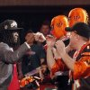 Photo -   Alabama cornerback Dre Kirkpatrick celebrates with fans after being selected 17th overall by the Cincinnati Bengals in the first round of the NFL football draft at Radio City Music Hall, Thursday, April 26, 2012, in New York. (AP Photo/Jason DeCrow)