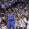 The crowd reacts behind Oklahoma City\'s Kevin Durant (35) during Game 5 of the NBA Finals between the Oklahoma City Thunder and the Miami Heat at American Airlines Arena, Thursday, June 21, 2012. Photo by Bryan Terry, The Oklahoman