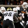 OSU\'s Brandon Weeden throws a pass during the college football game between Oklahoma State University (OSU) and the University of Colorado (CU) at Boone Pickens Stadium in Stillwater, Okla., Thursday, Nov. 19, 2009. Photo by Bryan Terry, The Oklahoman ORG XMIT: KOD