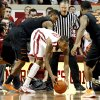 Sooner\'s Amath M\'Baye (22) gets a loose ball in front of Cowboy\'s Le\'Bryan Nash (2) during the second half as the University of Oklahoma Sooners (OU) defeat the Oklahoma State Cowboys (OSU) 77-68 in NCAA, men\'s college basketball at The Lloyd Noble Center on Saturday, Jan. 12, 2013 in Norman, Okla. Photo by Steve Sisney, The Oklahoman