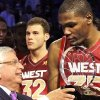 Kevin Durant accepts last year\' All-Star Game MVP award from NBA commissioner David Stern.