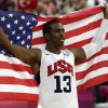 United States\' Chris Paul celebrates after the men\'s gold medal basketball game at the 2012 Summer Olympics, Sunday, Aug. 12, 2012, in London. USA won 107-100. (AP Photo/Eric Gay)