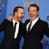 "Aaron Paul, left, and Bryan Cranston pose in the press room with the award for best television series - drama for ""Breaking Bad"" at the 71st annual Golden Globe Awards at the Beverly Hilton Hotel on Sunday, Jan. 12, 2014, in Beverly Hills, Calif. (Photo by Jordan Strauss/Invision/AP)"