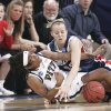 Pittsburgh's Shavonte Zellous, left, and Gonzaga's Janelle Bekkering battle for a loose ball during the first half Monday. AP PHOTO