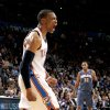 Oklahoma City\'s Russell Westbrook (0) reacts as Charlotte\'s Boris Diaw (32) watches during an NBA basketball game between the Oklahoma City Thunder and the Charlotte Bobcats at the Oklahoma City Arena, Friday, March 18, 2011. Photo by Bryan Terry, The Oklahoman