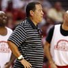 Kelvin Sampson coaches a team during a reunion basketball game at the Sooner Basketball Family Weekend at Lloyd Noble Center in Norman, Okla., Saturday, Aug. 27, 2011. Photo by Sarah Phipps, The Oklahoman