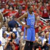 Oklahoma City\'s Kevin Durant (35) and Reggie Jackson (15) react as Los Angeles\' Matt Barnes (22) looks on during Game 6 of the Western Conference semifinals in the NBA playoffs between the Oklahoma City Thunder and the Los Angeles Clippers at the Staples Center in Los Angeles, Thursday, May 15, 2014. Photo by Nate Billings, The Oklahoman