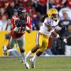Photo -   Mississippi wide receiver Donte Moncrief (12) pulls in a reception as LSU cornerback Jalen Collins (32) covers in the second half of their NCAA college football game in Baton Rouge, La., Saturday, Nov. 17, 2012. LSU won 41-35. (AP Photo/Gerald Herbert)