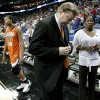 OSU\'s Kurt Budke, center, Alex Richardson, and assistant Kenya Larkin, right, walk off the court after OSU\'s loss in the regional semifinals of the NCAA women\'s basketball tournament between Oklahoma State University and LSU at the New Orleans Arena in New Orleans, Saturday, March 29, 2008. Saturday. BY BRYAN TERRY, THE OKLAHOMAN