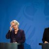 German chancellor Angela Merkel , right, and education minister Annette Schavan, left, address the press in Berlin Saturday, Feb. 9, 2013. Germany\'s education minister has resigned after a university decided to withdraw her doctorate, finding that she plagiarized parts of her thesis - an embarrassment for Chancellor Angela Merkel\'s government months before national elections. (AP Photo/dpa, Wolfgang Kumm)