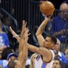 Oklahoma City\'s Thabo Sefolosha (2) shoots over Miami\'s Shane Battier (31) during Game 1 of the NBA Finals between the Oklahoma City Thunder and the Miami Heat at Chesapeake Energy Arena in Oklahoma City, Tuesday, June 12, 2012. Photo by Nate Billings, The Oklahoman