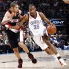 Oklahoma City\'s Kevin Durant (35) tries to dribble past Nicolas Batum (88) of Portland during the NBA basketball game between the Oklahoma City Thunder and the Portland Trail Blazers at the Ford Center in Oklahoma City, Friday, February 6, 2009. BY NATE BILLINGS, THE OKLAHOMAN