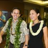 Photo - US Sen. Brian Schatz, left, and Linda Kwok Schatz attend the Democratic Unity Breakfast, Sunday, Aug. 10, 2014 in Honolulu.  The breakfast is traditionally held after Hawaii elections and is attended by both winners as well as losers.  (AP Photo/Marco Garcia)