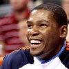 After being pulled from the game in the fourth quarter, Oklahoma City\'s Kevin Durant smiles as he watches the Thunder beat Toronto during their NBA basketball game at the Ford Center in Oklahoma City on Sunday, Feb. 28, 2010. The Thunder beat the Raptors 119-99. Photo by John Clanton, The Oklahoman