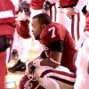 UNIVERSITY OF OKLAHOMA VS KANSAS STATE UNIVERSITY (KSU) BIG 12 CHAMPIONSHIP COLLEGE FOOTBALL AT ARROWHEAD STADIUM IN KANSAS CITY, MISSOURI, DECEMBER 6, 2003. OU Sooner #7 Brandon Everage sits dejected during the last second of the game. Staff photo by Ty Russell