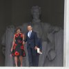 President Barack Obama and first lady Michelle Obama arrive at the 50th Anniversary of the March on Washington where Martin Luther King, Jr. spoke, Wednesday, Aug. 28, 2013, at the Lincoln Memorial in Washington. (AP Photo/Charles Dharapak)
