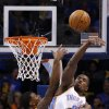 Oklahoma City\'s Serge Ibaka (9) blocks the shot of Cleveland\'s Alonzo Gee (33) during the NBA basketball game between the Oklahoma City Thunder and the Cleveland Cavaliers at the Chesapeake Energy Arena, Sunday, Nov. 11, 2012. Photo by Sarah Phipps, The Oklahoman