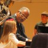 One of the audience members joined the Jazz Band pianist. (Photo by Helen Ford Wallace).